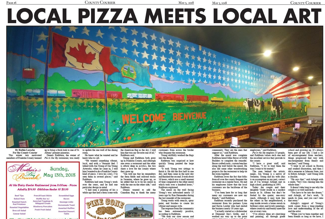 County Courier Story on Pie in the Sky Artwork, Vermont